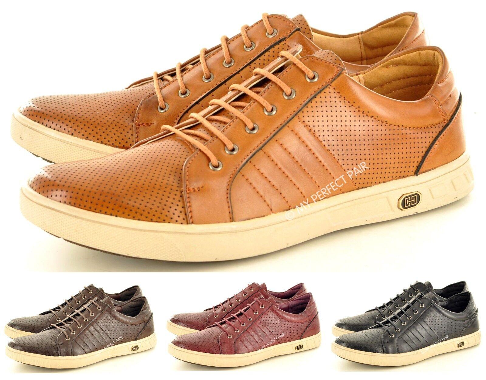 Hombre Nuevo Tostado Casual Negro Rojo Marrón Tostado Nuevo Zapatos con Cordones 466909