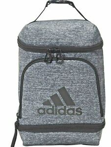 Details about Adidas Insulated Lunch Bag, 3 Zippered Compartments, Onix Jersey/Black, One Size