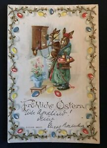 Hold-to-Light-Dressed-BUNNY-RABBIT-Die-Cut-Easter-1904-HTL-Postcard-s925