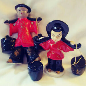 2-Vintage-Chinese-Japanese-Man-amp-Woman-Chalkware-Salt-n-039-Pepper-Toothpic