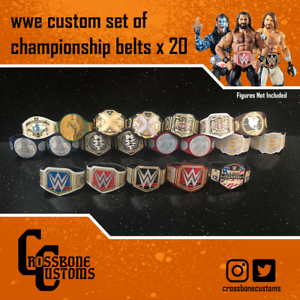 20 x Custom Wrestling WWE Championship Belts for Mattel//Jakks//Hasbro Figures