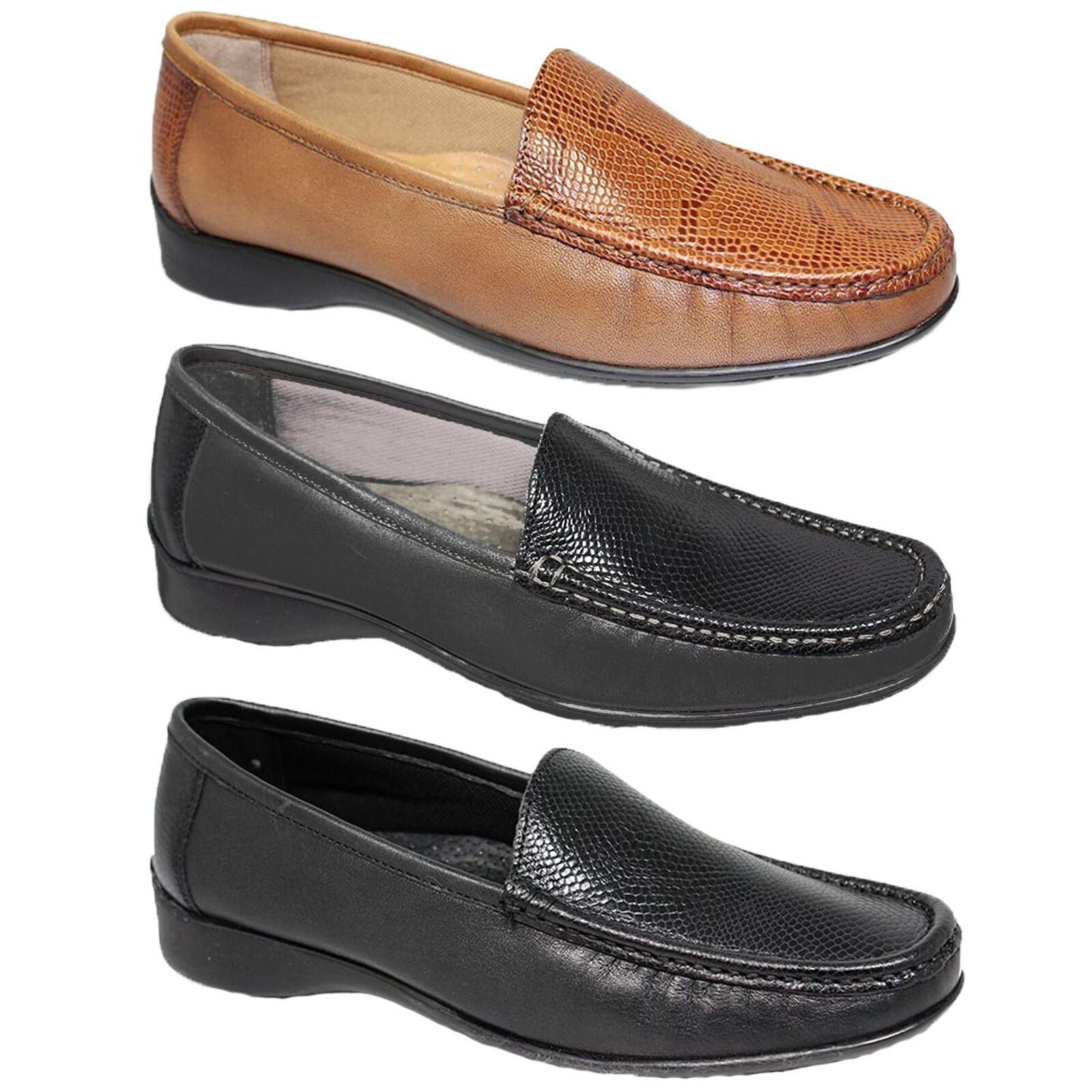 FLV002 Jenny Leder Moccasin Two Tone Loafer Snake Print Schuhes Flats