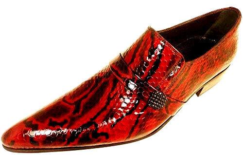CHELSY AUSGEFALLENER ROT HERRENSCHUH SLIPPER PYTHON KALBSLEDER ROT AUSGEFALLENER RED LEDERSOHLE 39 957352