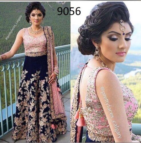 Blue And Pink Lehenga Choli Ghagra Indian Designer Lengha Bollywood Sari Saree