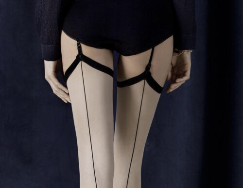 New Fiore Provoke Vintage-Inspired Patterned Stockings Contrasting Seam