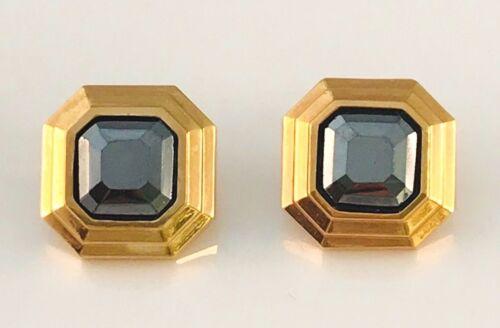 Vintage Lanvin Gold Tone and hematite Square earr… - image 1