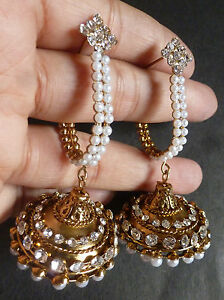 Image Is Loading Vintage Gold Plated Pearl Half Ring Jhumka Earrings