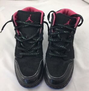 best service 8afb4 c9e90 Image is loading Nike-Air-Jordan-Girls-Shoes-Black-Pink-Lace-
