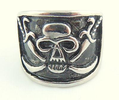 Mens Pirate Stainless Steel Skull & Cross Sword Gothic Ring Heavy Outlaw Biker