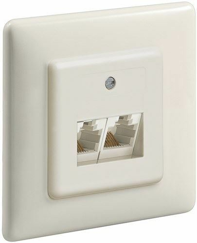Goobay Twin ISDN wall plate,Flush mount (8/8) beige with 16 screw connections