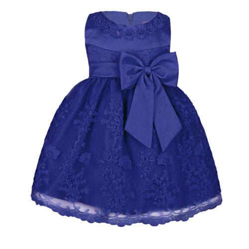 US Toddler Baby Girl Lace Tutu Dress Party Wedding Birthday Princess Bow Dresses