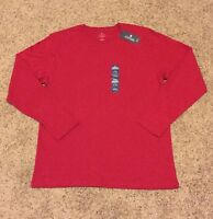 Mens Stafford Classic Fit Red Cotton Long Sleeve Crew Sleep T-shirt Large