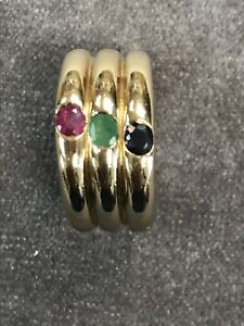 Estate-Women-039-s-Triple-Dome-Ring-Band-Ruby-Emerald-Blue-Sapphire-14K-Yellow-Gold