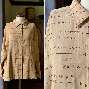 DESIGNER Butter Soft Suede Boho Southwestern Oversized Button Up Shirt 44