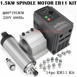 CNC 800W Air Cooled Spindle Motor ER11 220V VFD Driver Speed Control Collet Kit