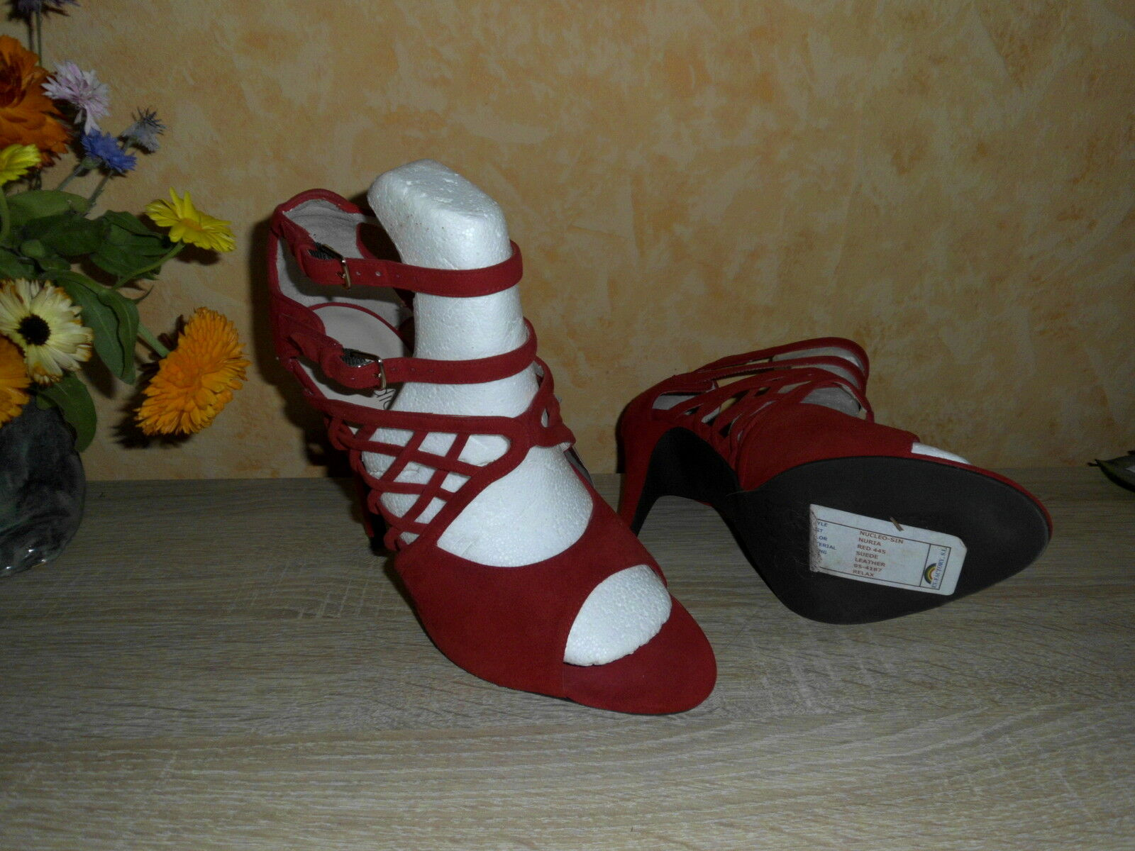 Studio W SEXY High Heel in Gladiator SANDALETTE NEU Gr. 40 in Heel rot  Velours Leder 78692e