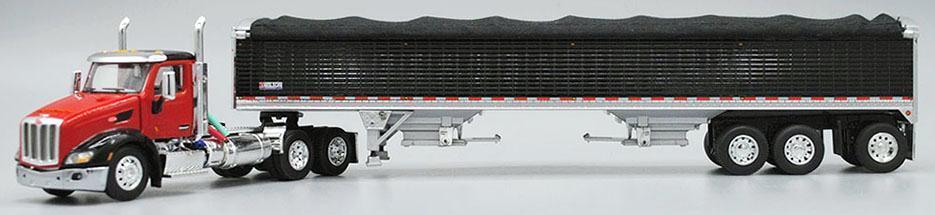 1 64 DCP 579 Pete (Rouge Noir Garde-boue Toit) avec Noir Wilson Tri-Essieu GRAIN TRAILER