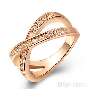 Women-039-s-Admiring-Austrian-Crystal-9K-Rose-Gold-Plated-Rhinestone-Jewelry-X-Ring