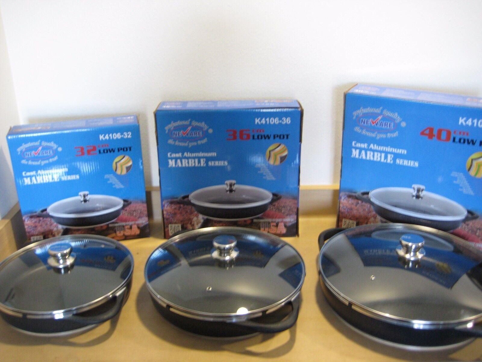 Neware 4106- 32cm, 36cm, 40cm Cast Aluminum Marble Low Pot