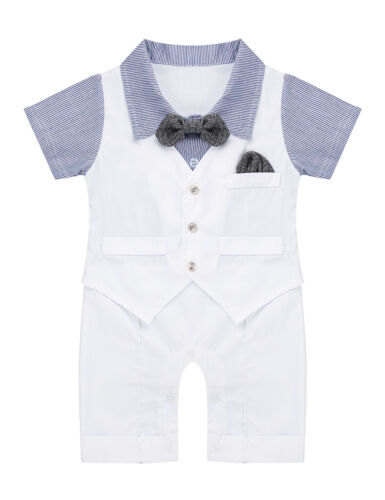Infant Baby Boys Gentleman Romper Tuxedo Outfit Bowtie Jumpsuit Waistcoat Vest