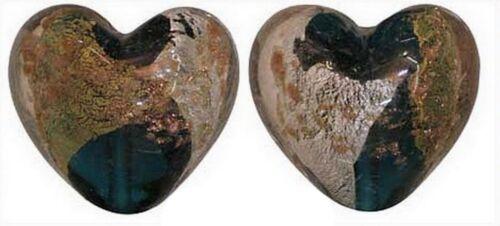 2 coeur style murano vert 23 x 23 mm feuille argent et doré.