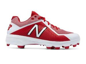 New Balance 4040v4 Molded Low Adult Men s Baseball Cleats Red White ... 2ffcdd1bd