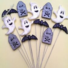 Edible sugar Halloween cake decorations ghost tomb bats cupcake toppers on wires