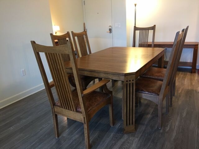 Stickley 21st Century Collection Oak Dining Table 6 Chairs & 2 Leaves &  Console