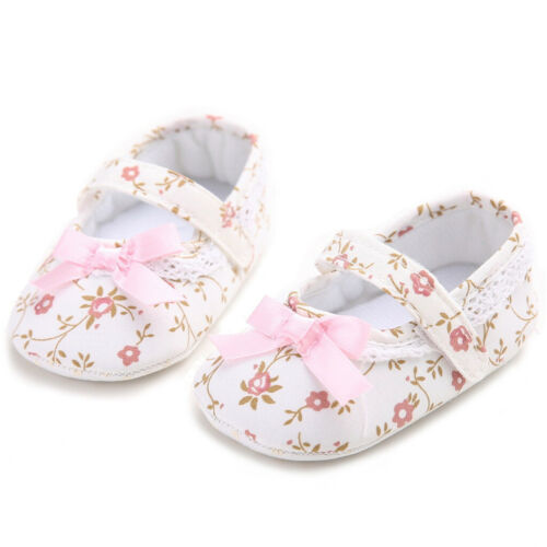 Baby First Walkers Crib Floral Soft Soled Anti-Slip Shoes Girls Princess Shoes
