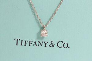 1df84eb57 Tiffany & Co Platinum Diamond Solitaire Pendant and Necklace 0.18 Ct ...