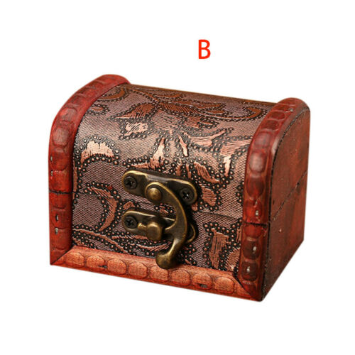 Vintage Wood Handmade Jewelry Box Small Ring Organizer Storage Jewelry Case Gift