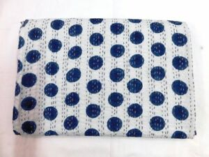 Black Polka Dot Print Indian Kantha Quilt Twin Cotton Blanket Vintage Bedspread