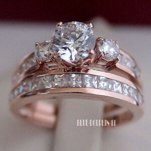 Genuine-Solid-9ct-Rose-Pink-Gold-Engagement-Wedding-Rings-Set-Simulated-Diamonds