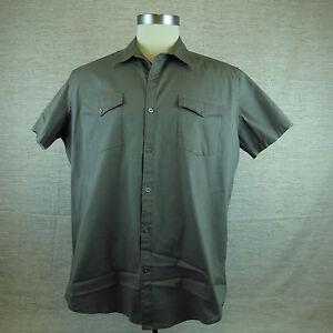 Men-039-s-JF-J-Ferrar-Modern-Fit-Brown-Bowling-Camp-Size-L-Casual-Shirt