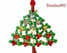 Red & Green Gold Tone Diamonte / Diamante Christmas Tree Brooch / Pin - NEW