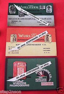 3-Early-Wurlitzer-Jukebox-Machine-operator-Mechanism-Back-Door-cards-1930-40-s