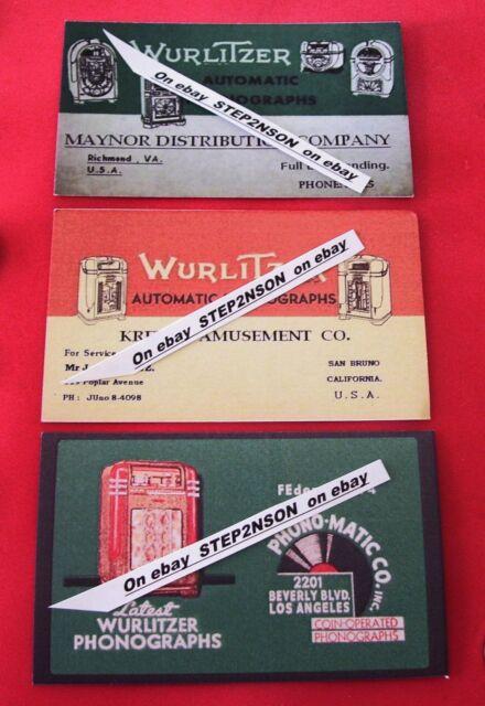 3 Early Wurlitzer Jukebox Machine operator Mechanism Back Door cards 1930  40`s