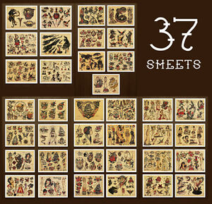 7803a8f64 8.5x11 Sailor Jerry Tattoo Flash 37 Sheets Designs Old School ...