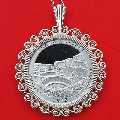New Mexico Chaco Culture National Forest 90/% Silver Proof Coin Sterling Necklace