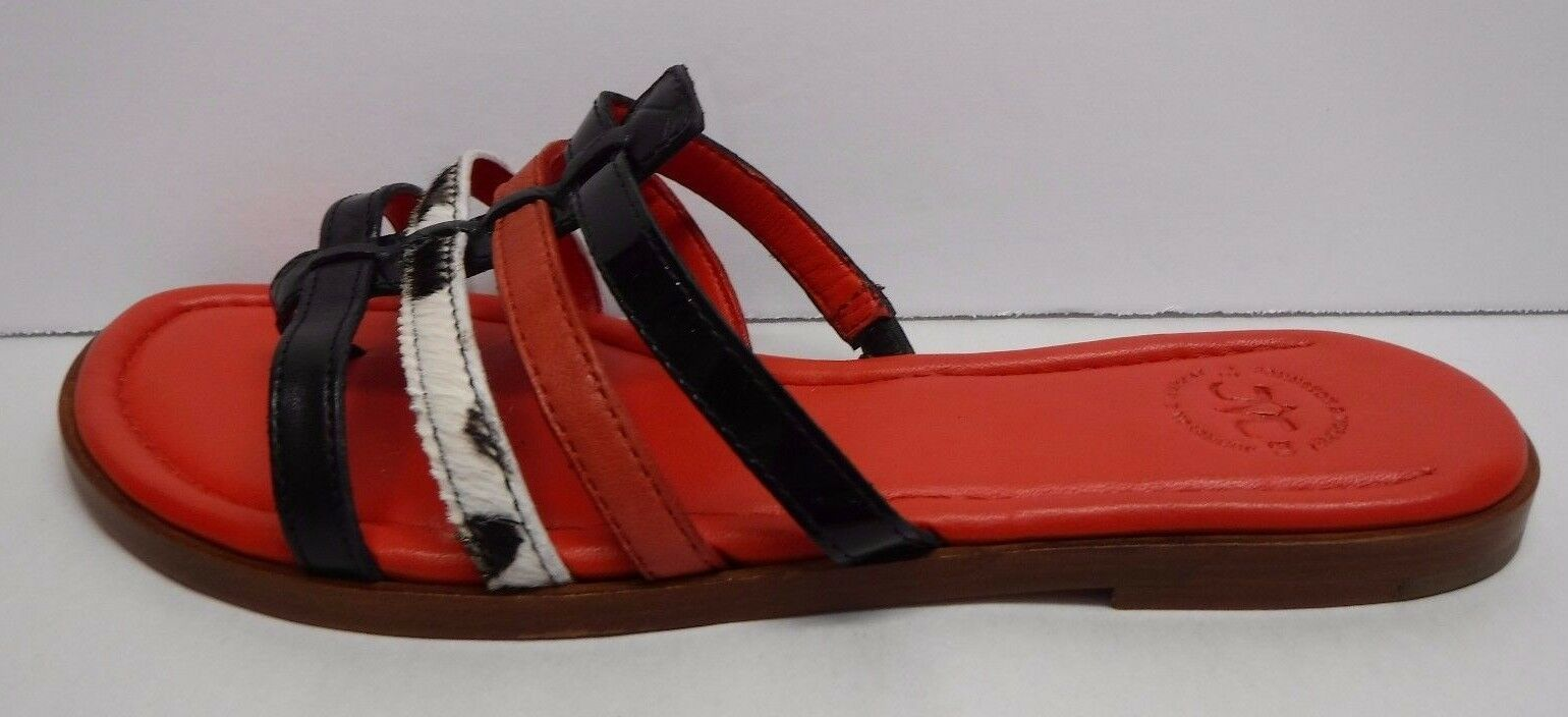 Johnston & Murphy Size 7 Red Black Leather Sandals New New New Womens shoes 3ce68a