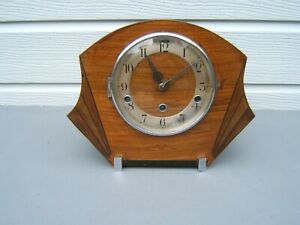 Art-Deco-Mantel-clock-Oak-Westminster-chime-can-be-turned-off-working-M2