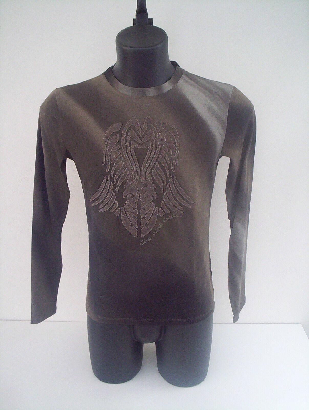 T-shirt Roberto Cavalli,colore verde sfumato velluto,tg ricamo in velluto,tg sfumato 46 775bb2