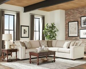 Details about OATMEAL CHENILLE NAILHEAD SOFA SECTIONAL LIVING ROOM  FURNITURE SET SALE