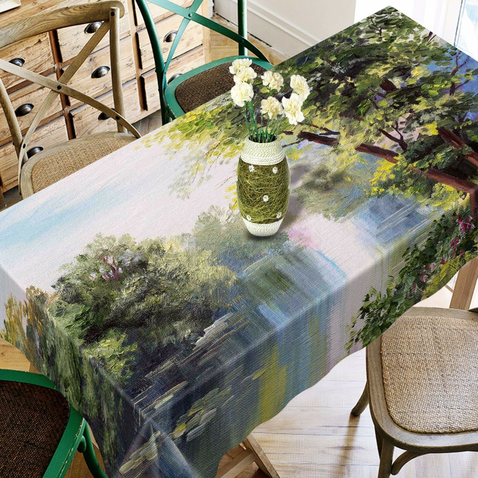 3D River View Nappe Table Cover Cloth fête d'anniversaire AJ papier peint Royaume-Uni Citron