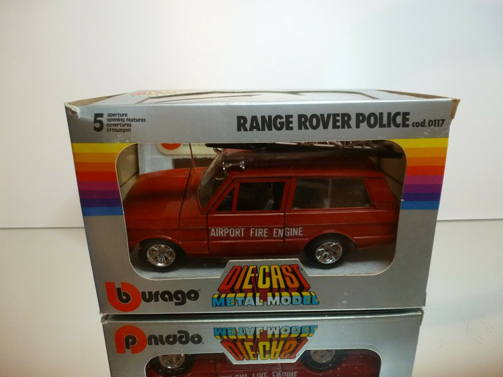 BBURAGO 0125 RANGE ROVER AIRPORT FIRE ENGINE - rojo 1 24 - GOOD CONDITION IN BOX