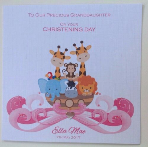 PERSONALISED Handmade CHRISTENING BAPTISM Card GRANDDAUGHTER DAUGHTER Noahs Ark