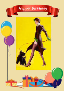 Pin up girl with cute scottish terrier scottie dog birthday image is loading pin up girl with cute scottish terrier scottie m4hsunfo