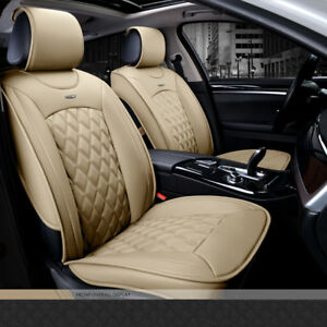 Luxury Leather Look Beige Cream Airbag Compatible Car Taxi Front Seat Covers