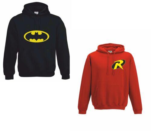 BATMAN /& ROBIN Adult Black /& children Red long sleeve polycotton hoodie hoody
