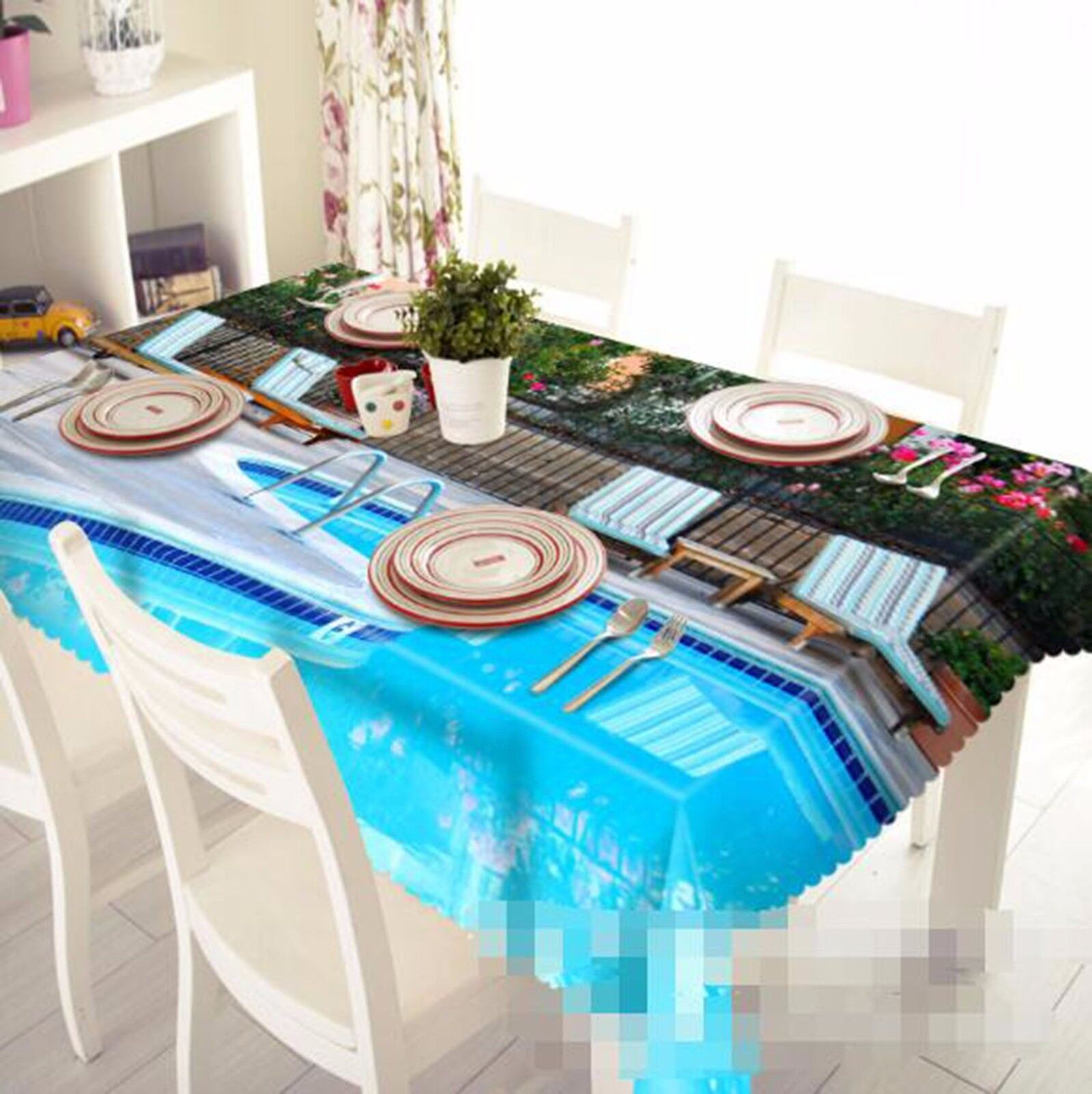 3D Pool Tablecloth Table Cover Cloth Birthday Party AJ WALLPAPER UK Lemon